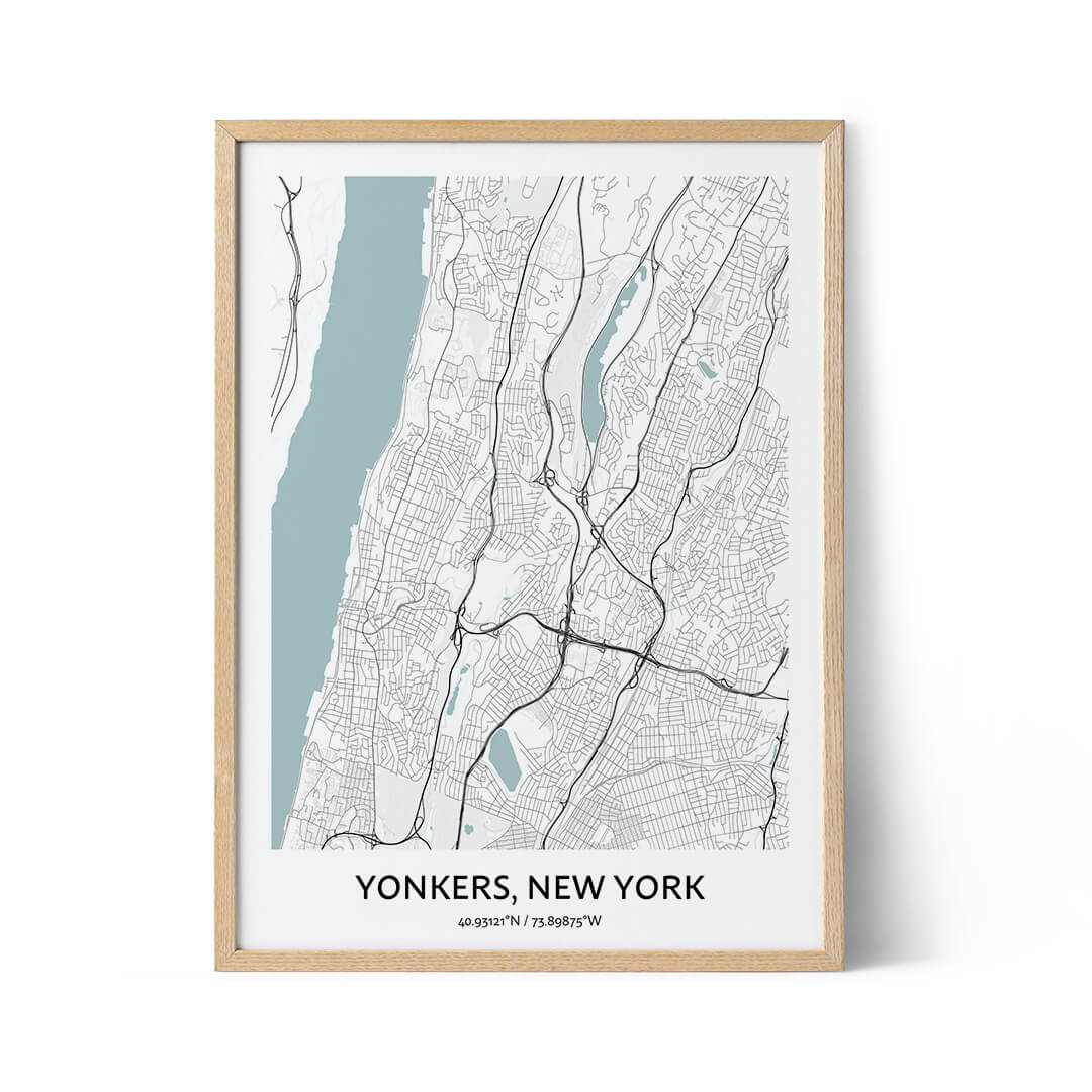 Yonkers city map poster