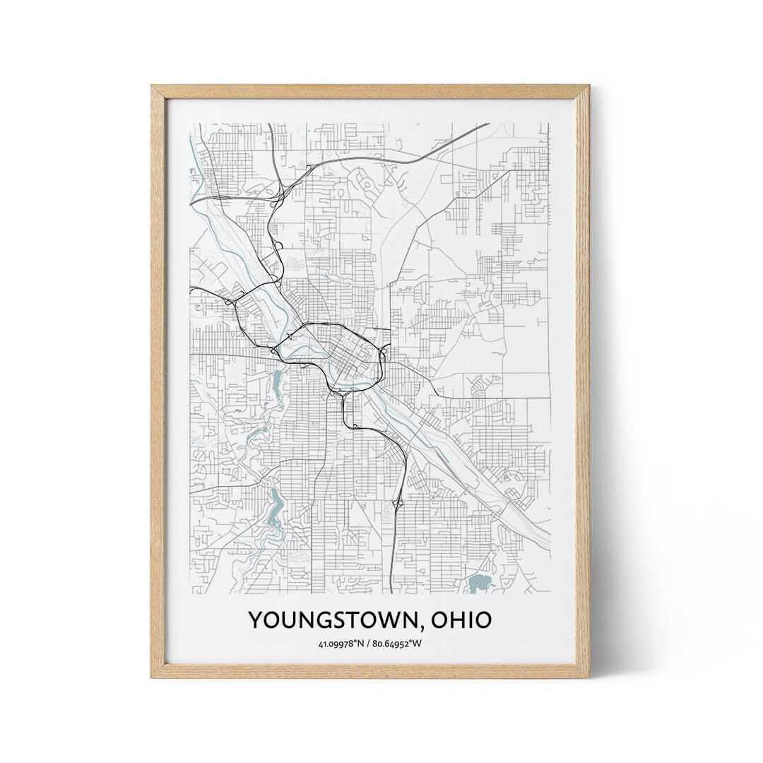 Youngstown city map poster