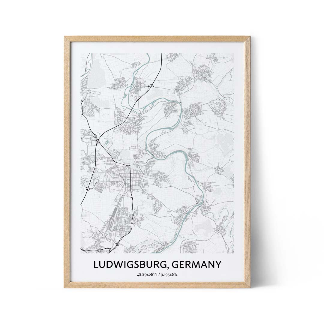 Ludwigsburg city map poster