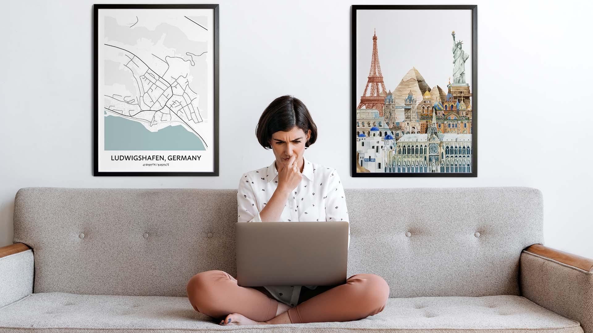 Ludwigshafen city map art