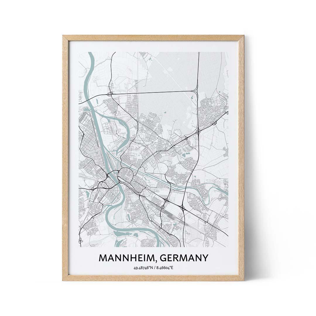 Mannheim city map poster