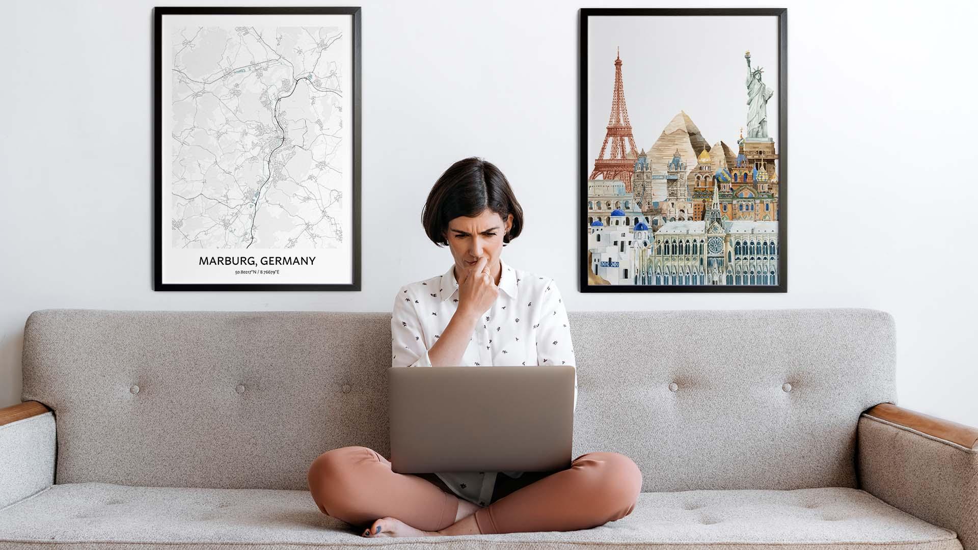 Marburg city map art