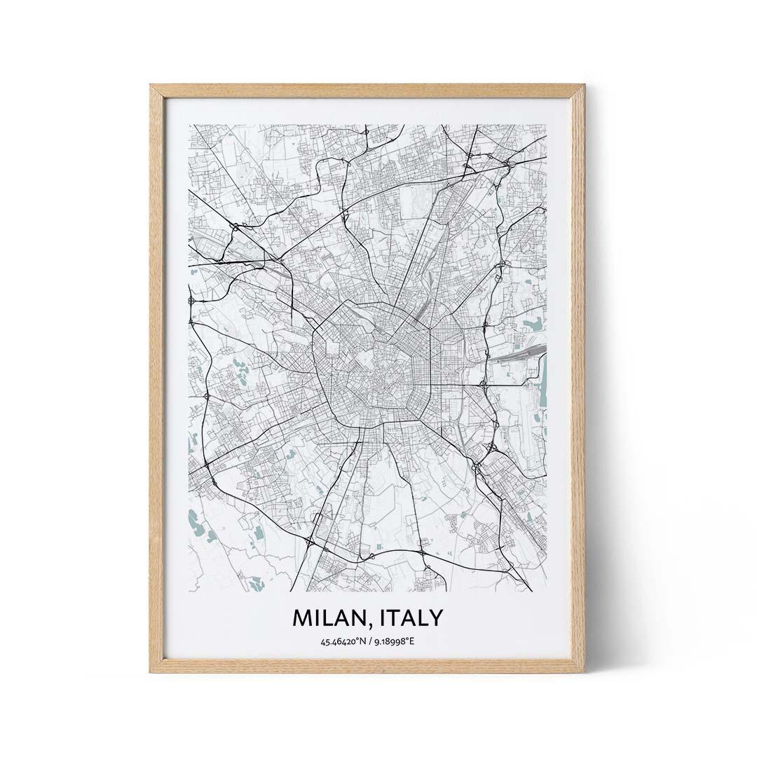 Milan city map poster