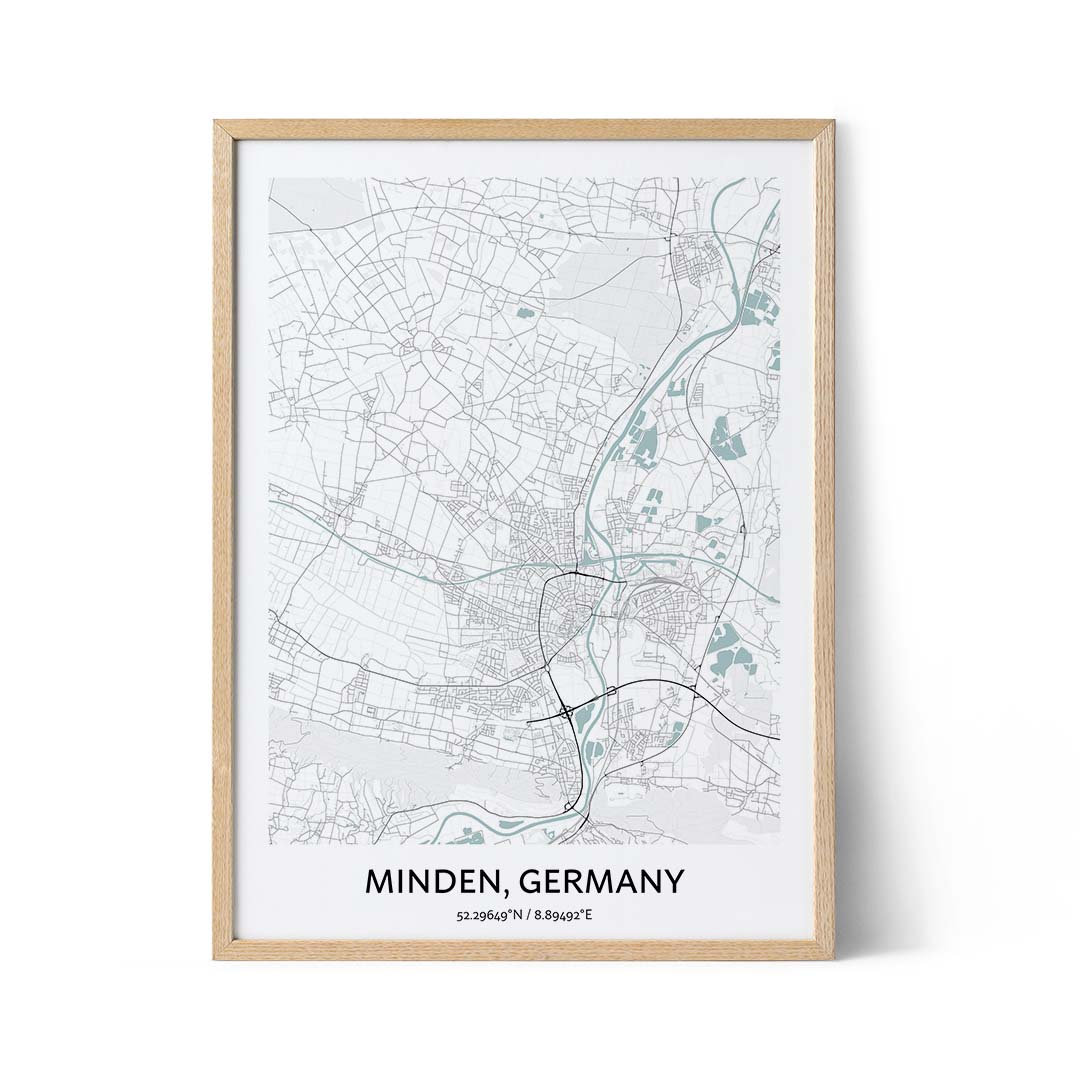 Minden city map poster