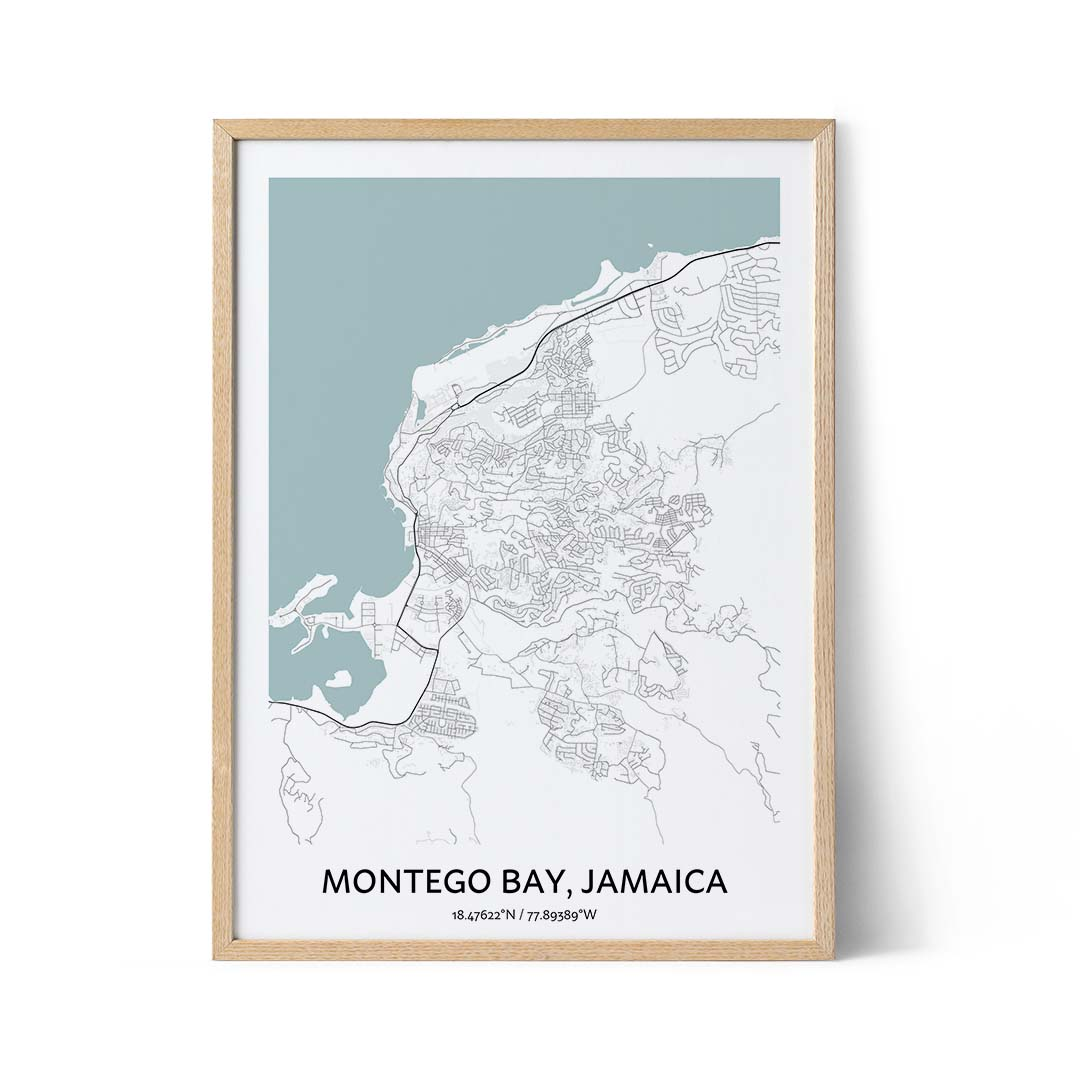 Montego Bay city map poster
