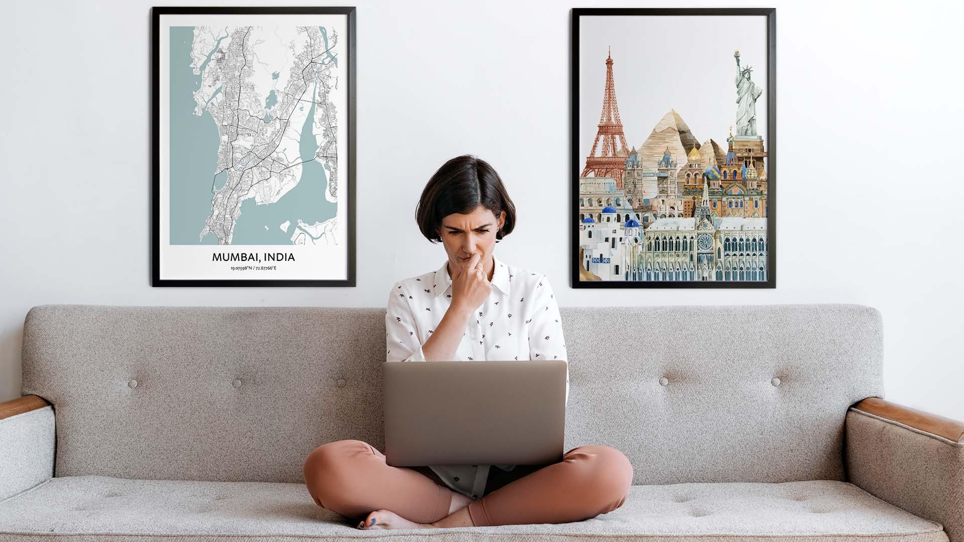 Mumbai city map art