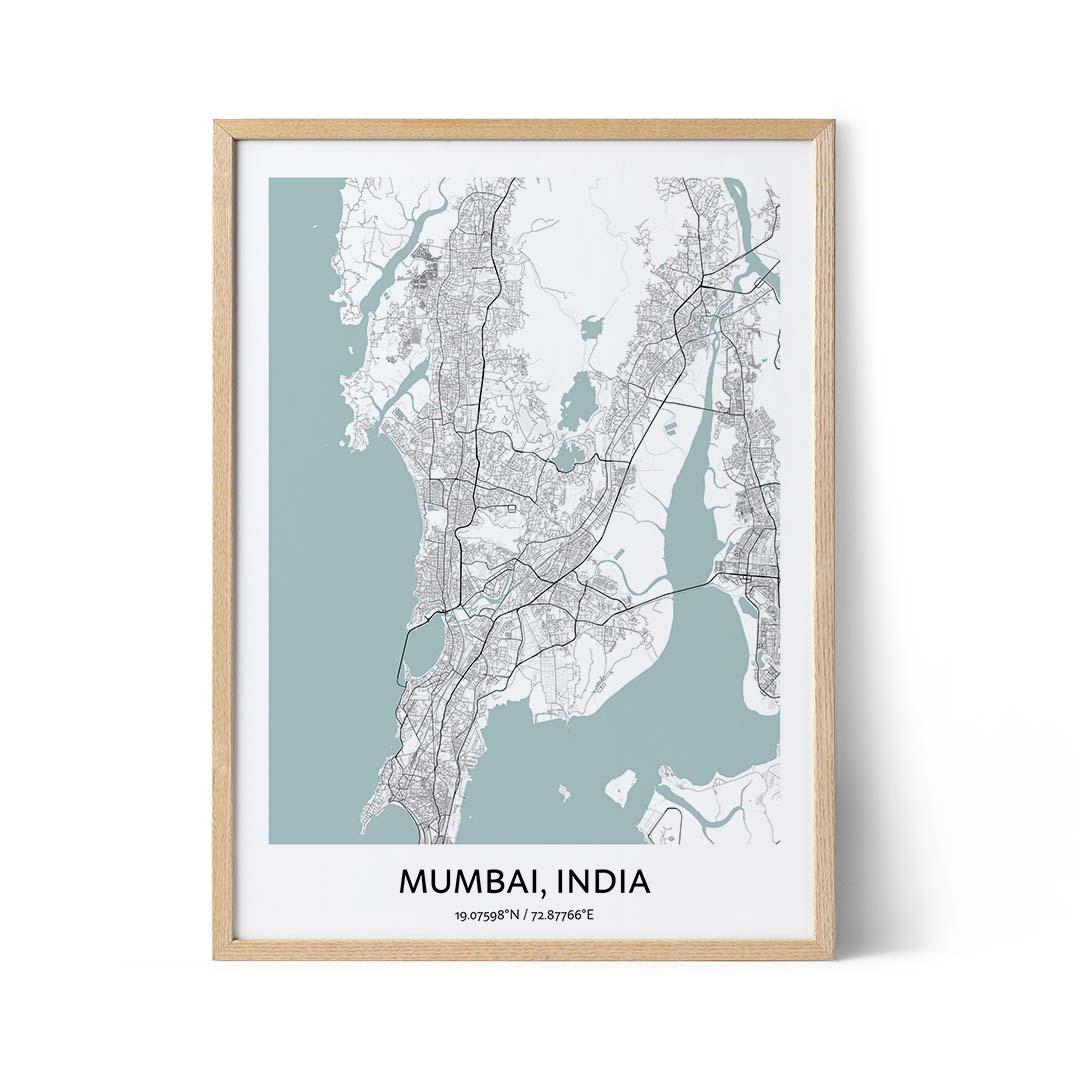 Mumbai city map poster