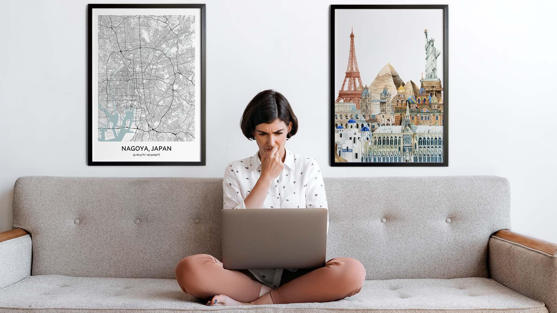 Nagoya city map art