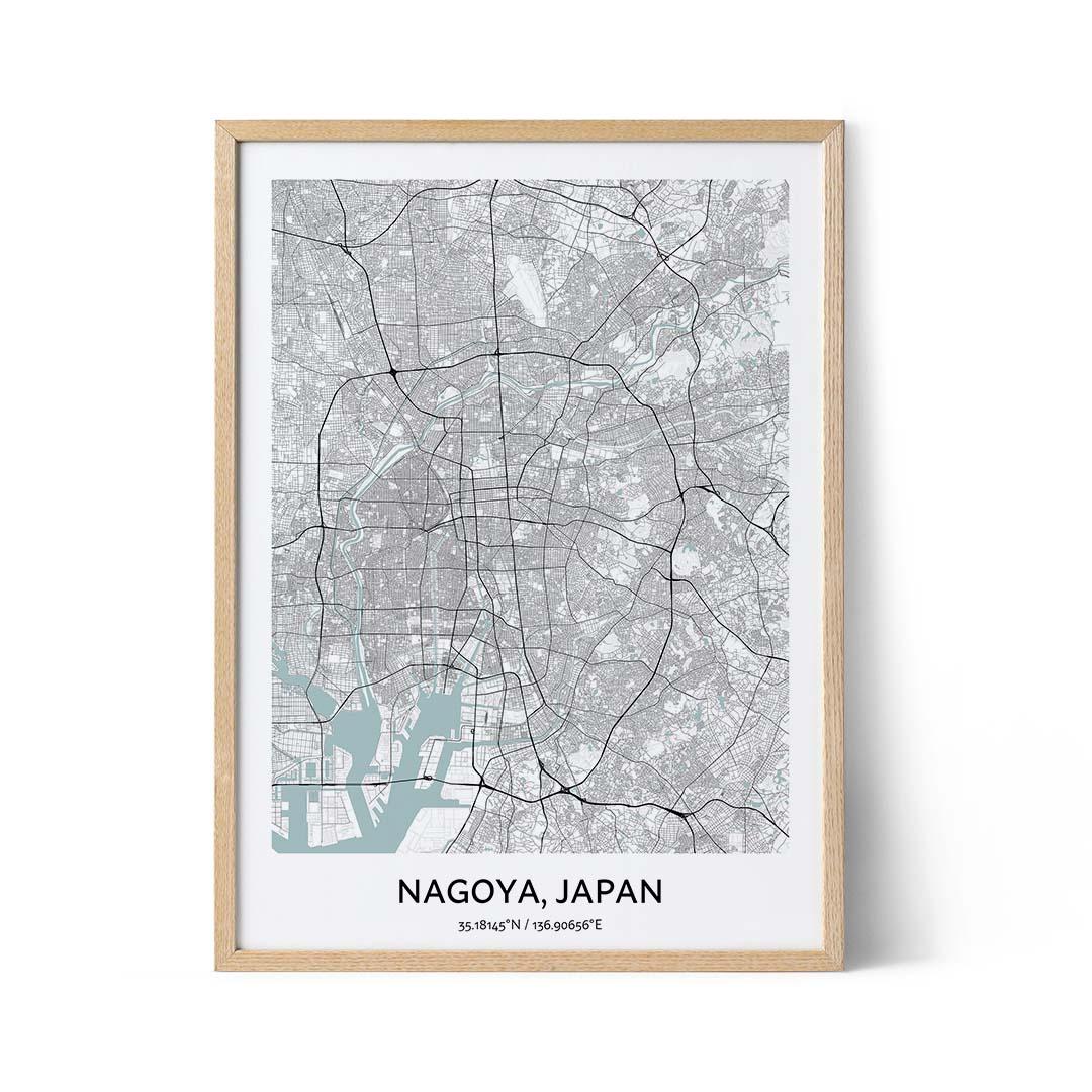 Nagoya city map poster
