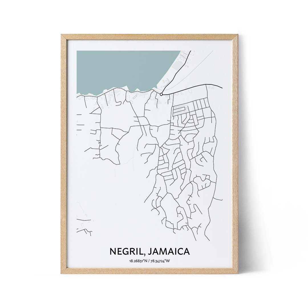 Negril city map poster