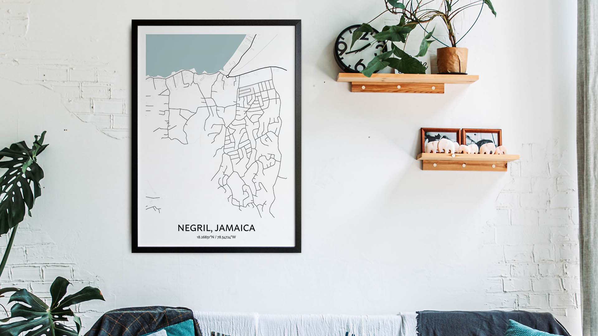 Negril map art