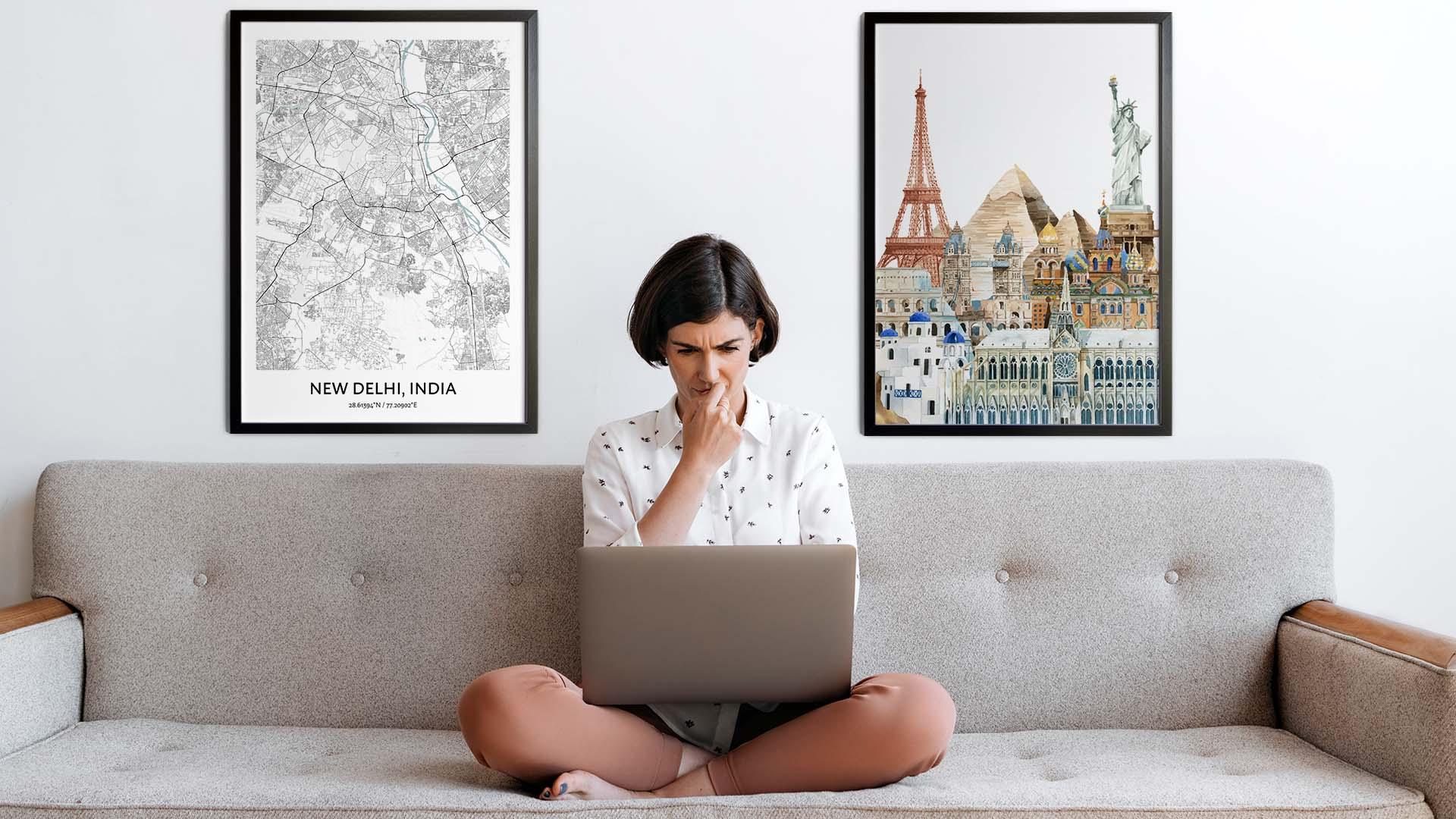 New Delhi city map art