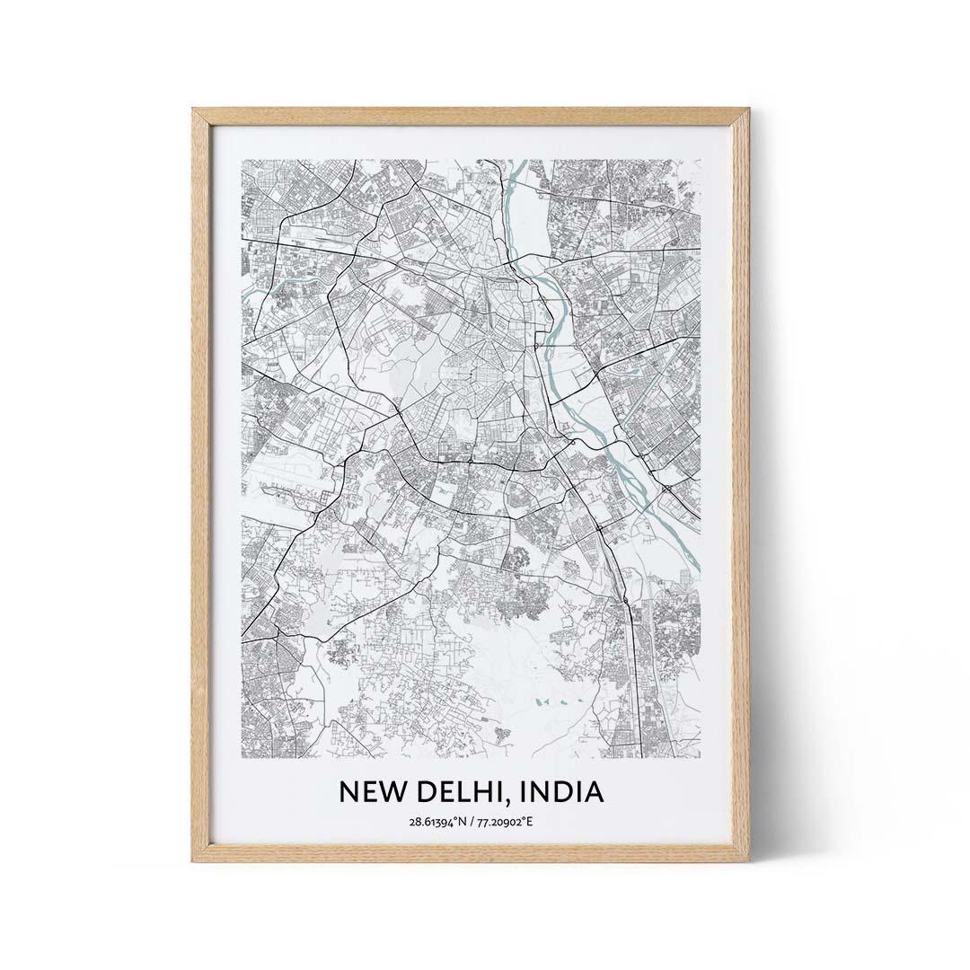 New Delhi city map poster