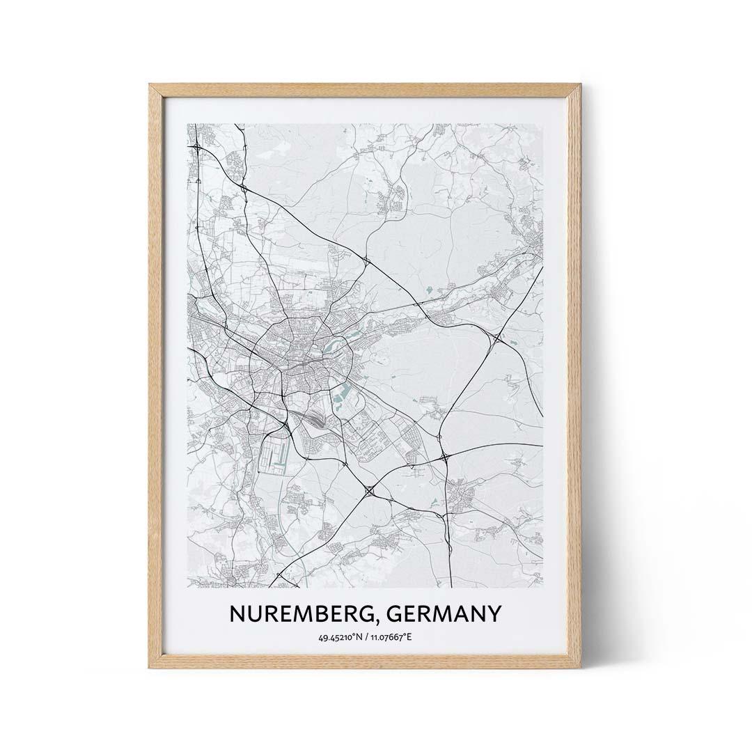 Nuremberg city map poster