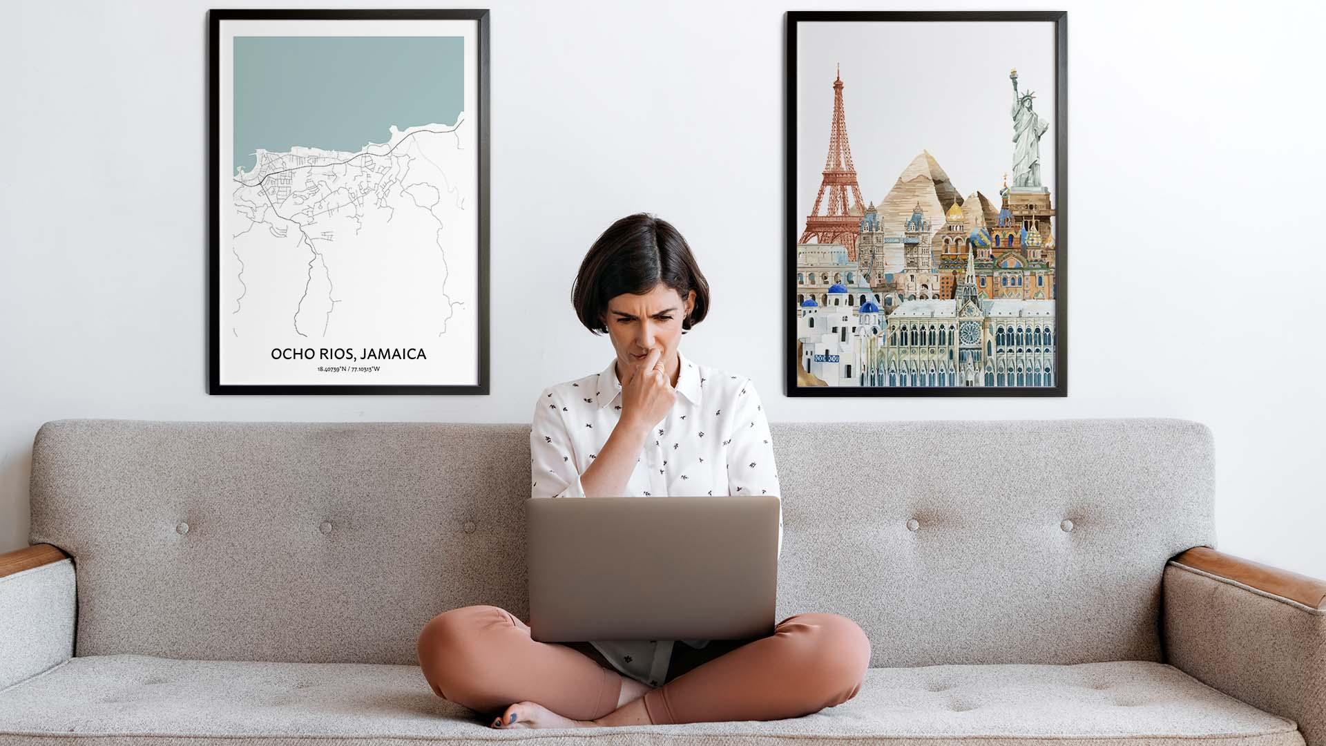 Ocho Rios city map art