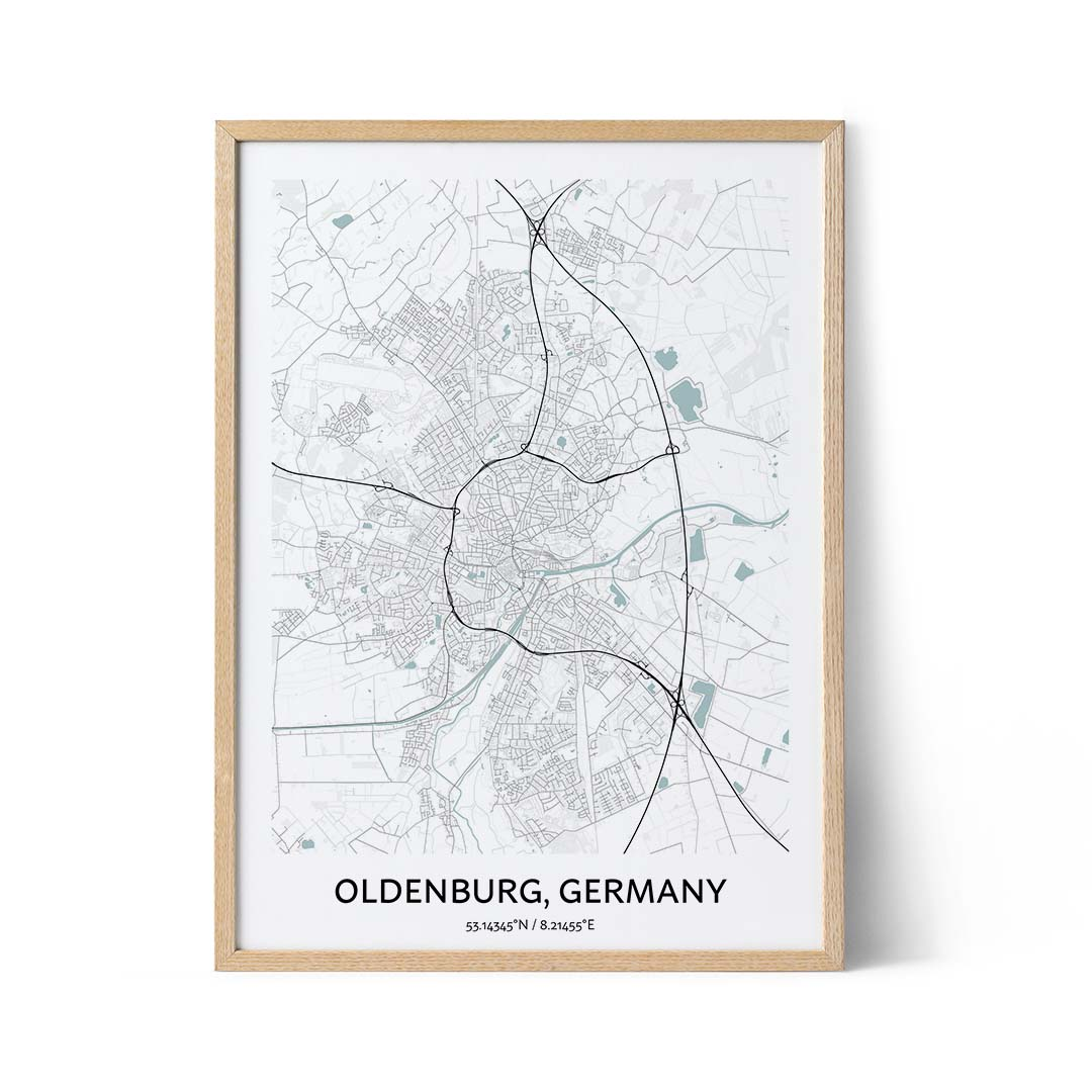 Oldenburg city map poster