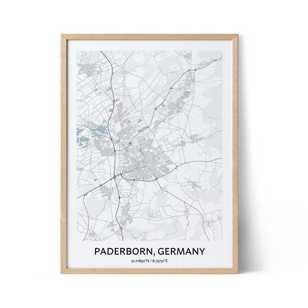 Paderborn city map poster