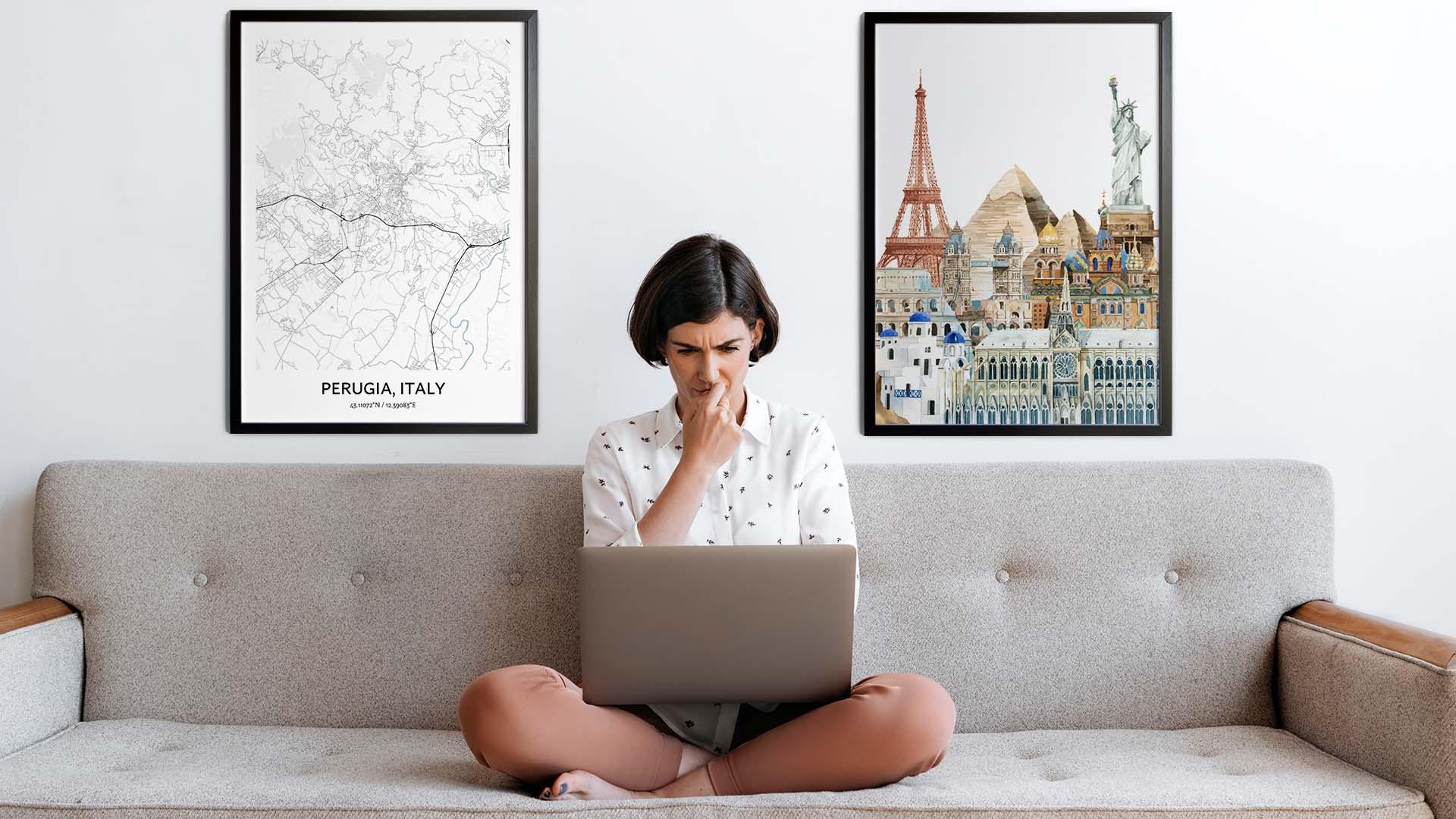 Perugia city map art