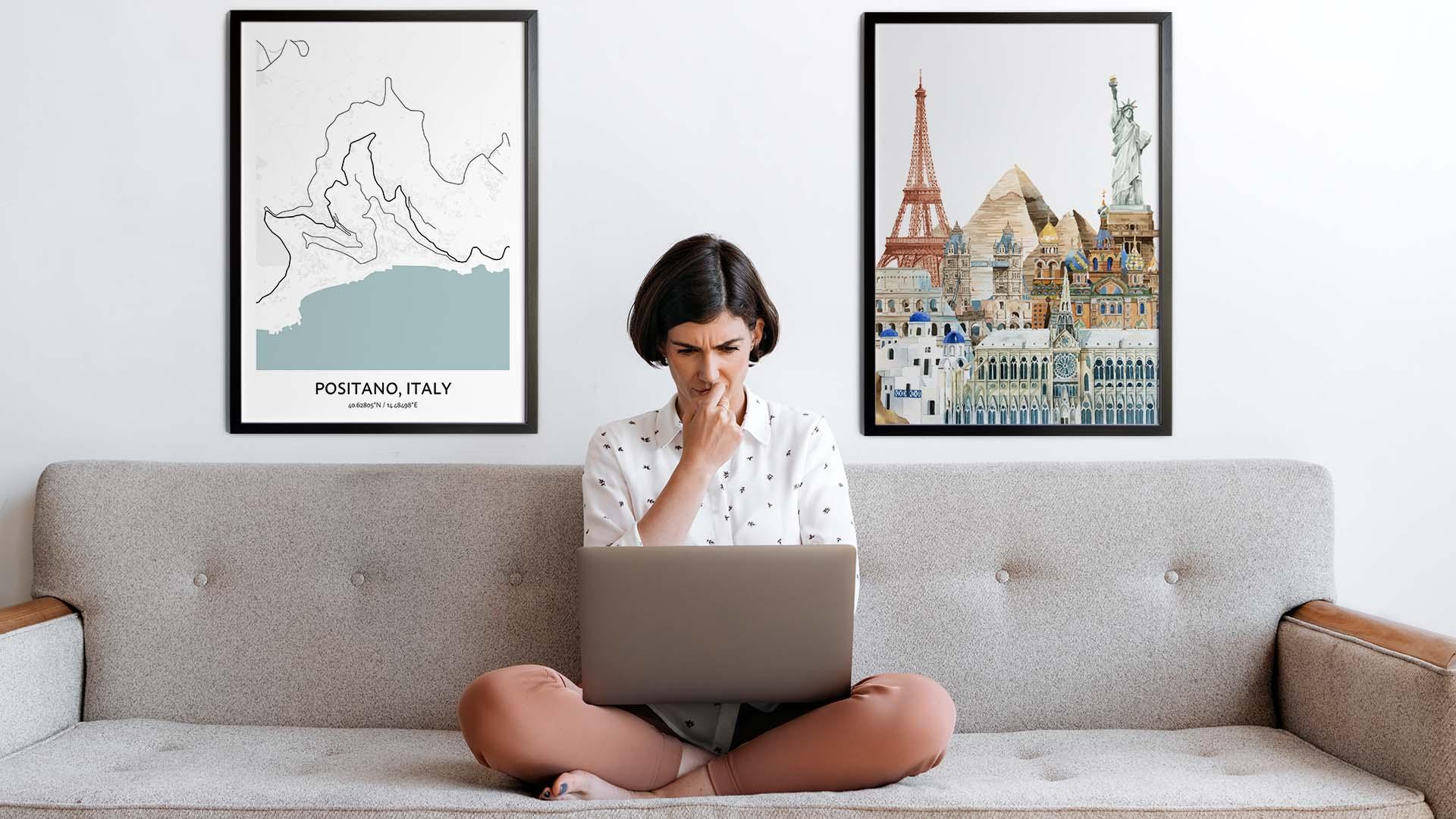 Positano city map art