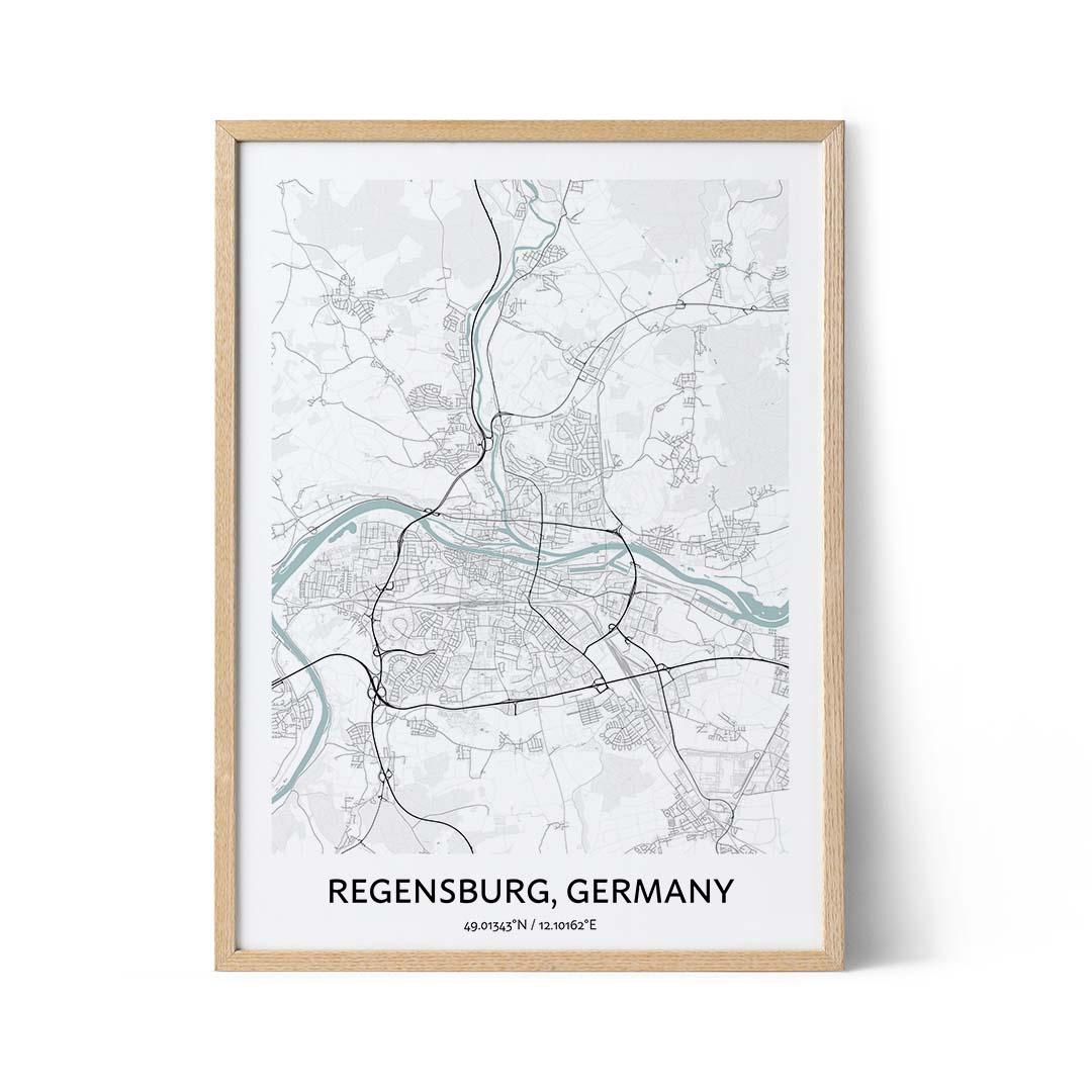 Regensburg city map poster