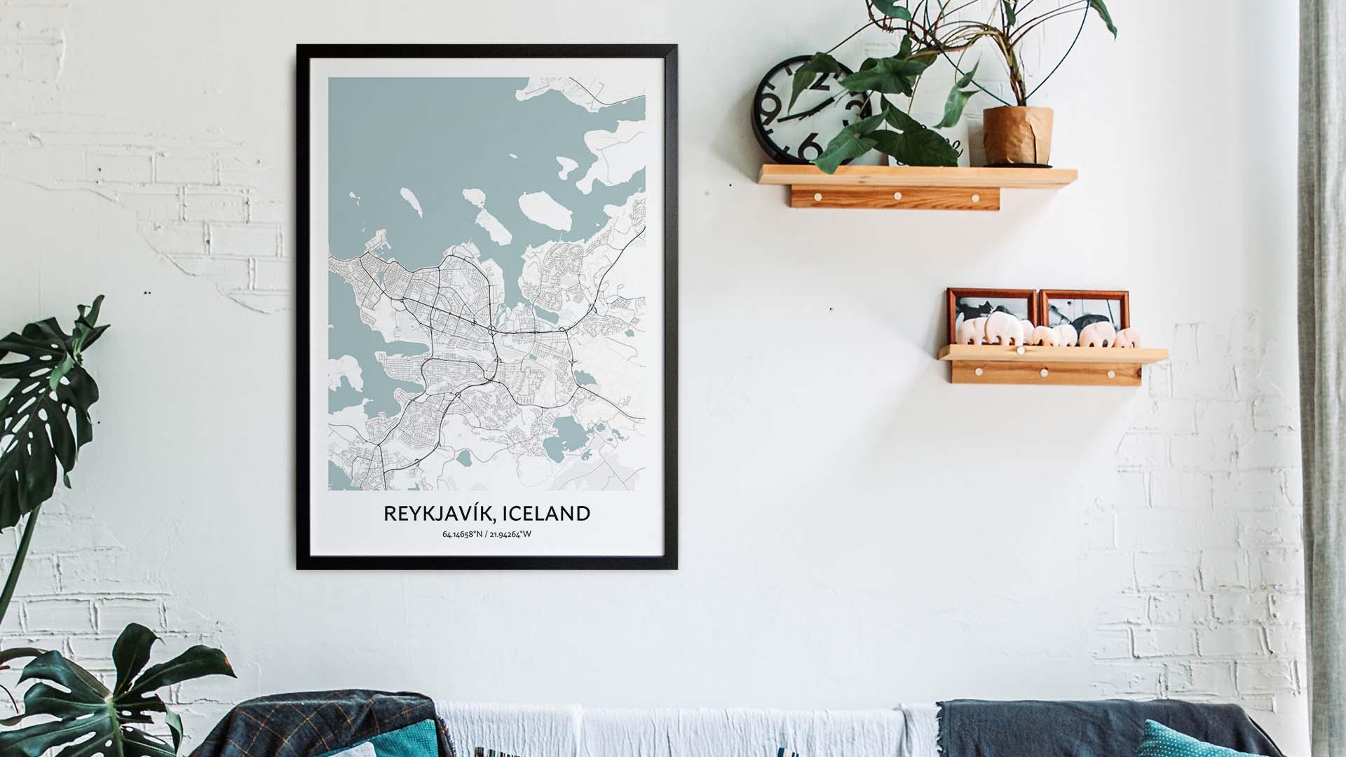 Reykjavik map art