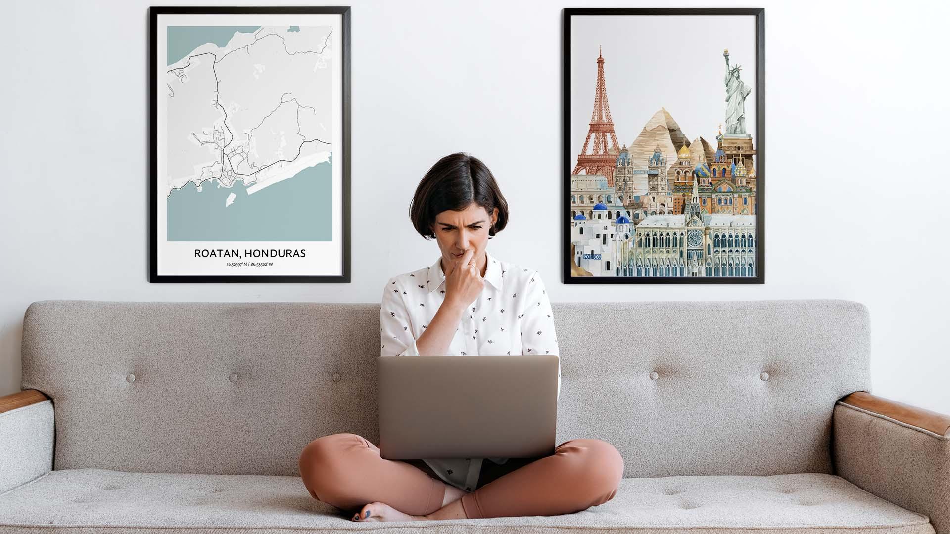Roatan city map art