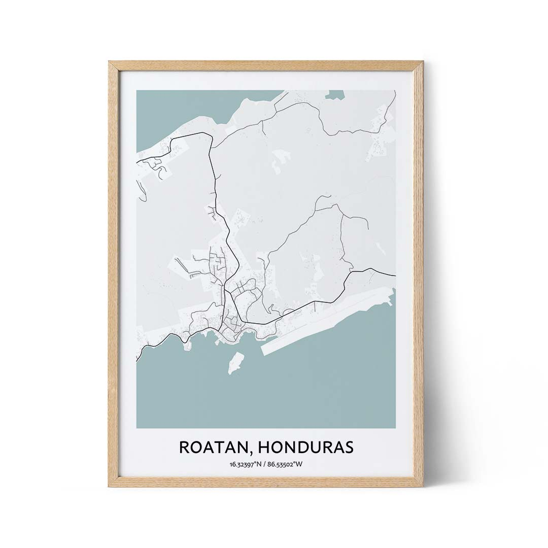 Roatan city map poster