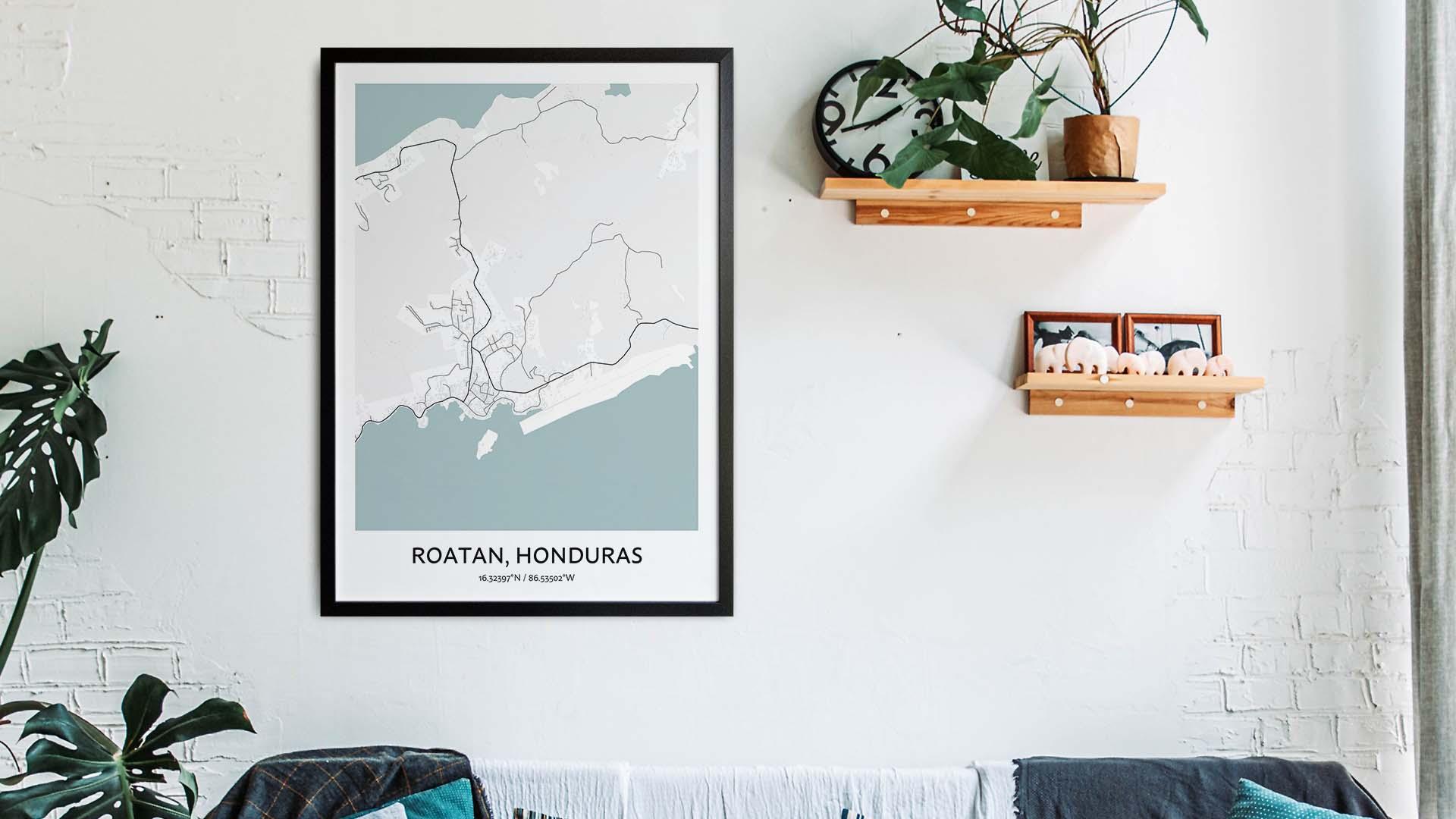 Roatan map art