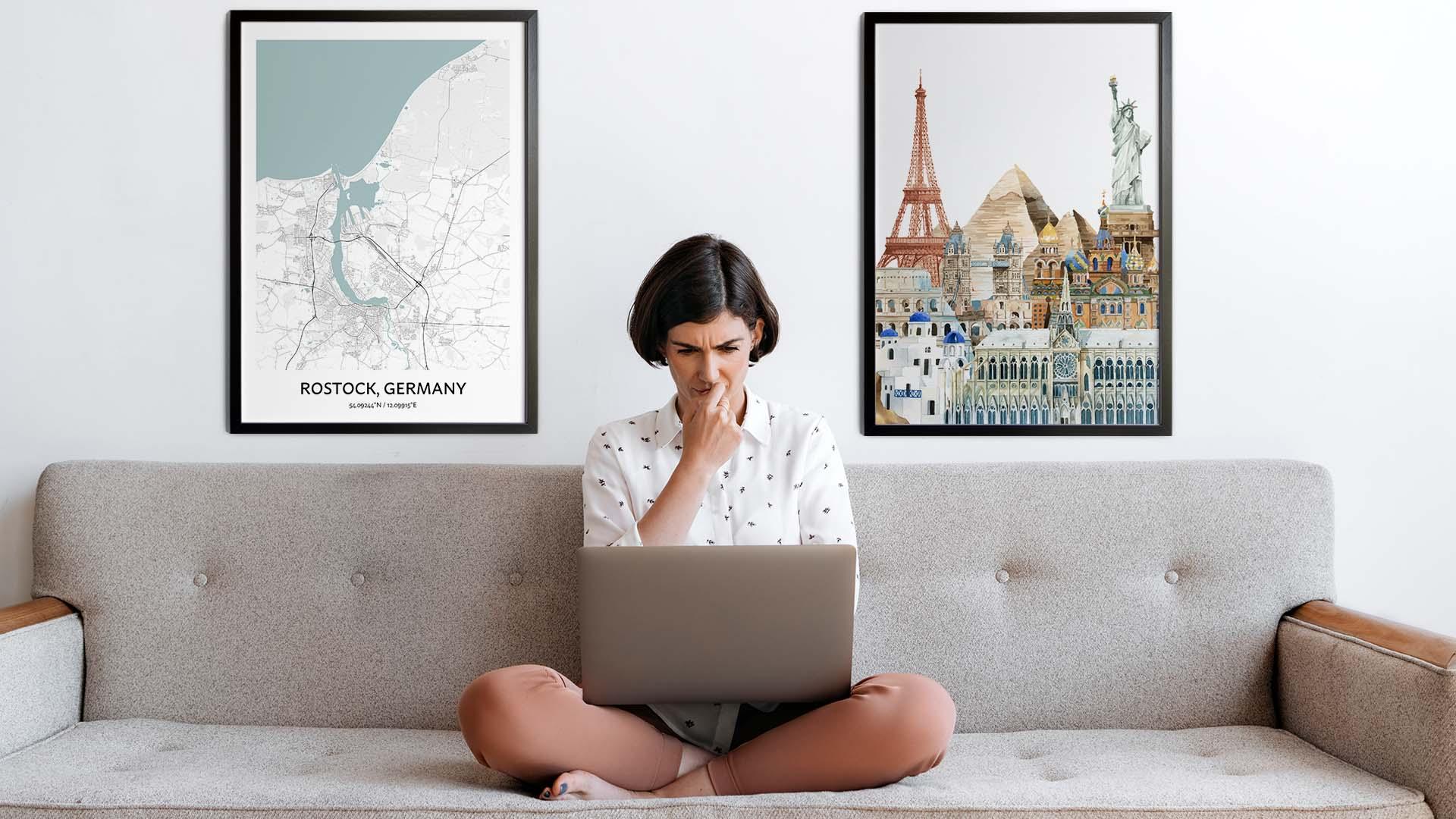 Rostock city map art