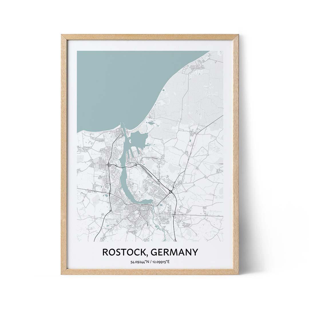 Rostock city map poster