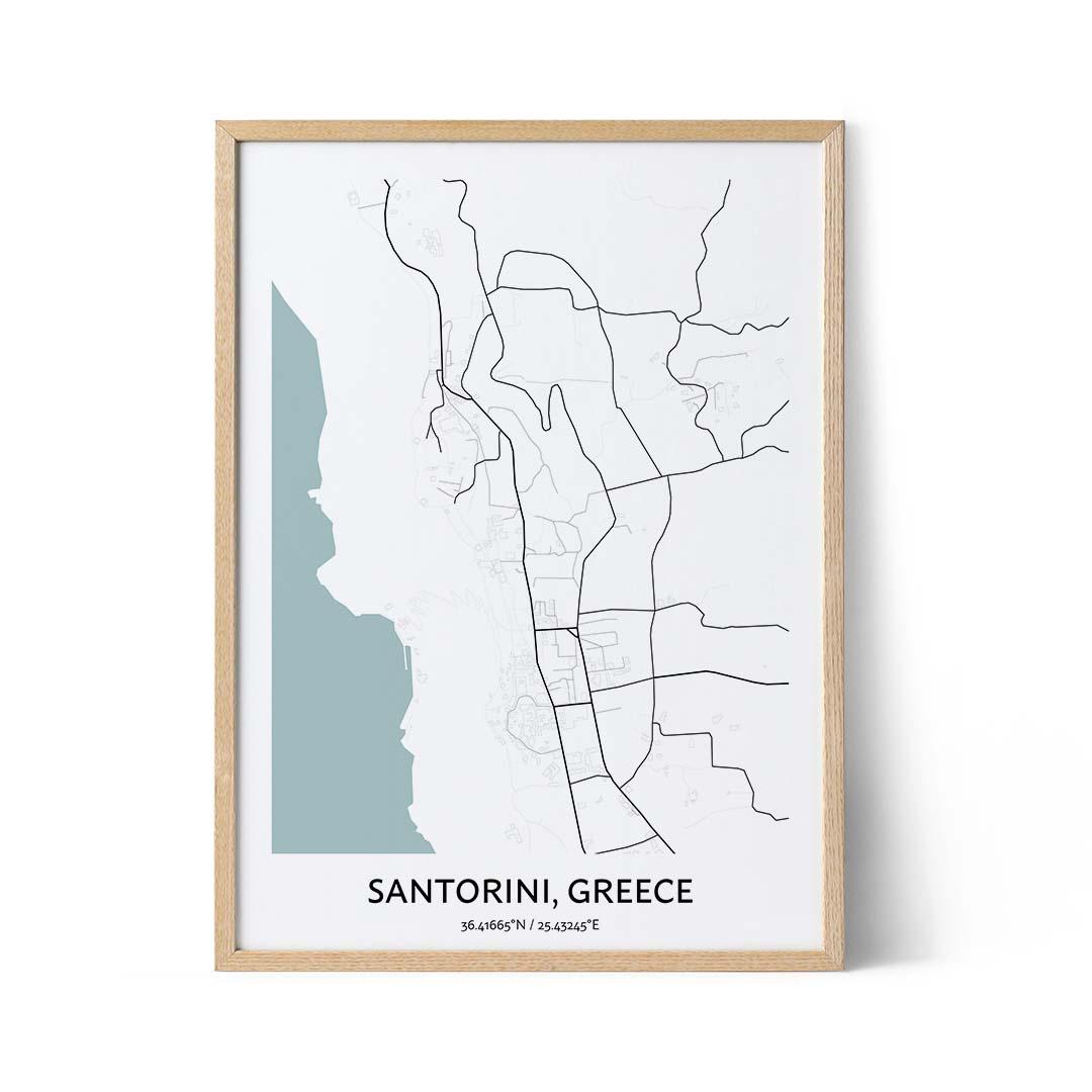Santorini city map poster