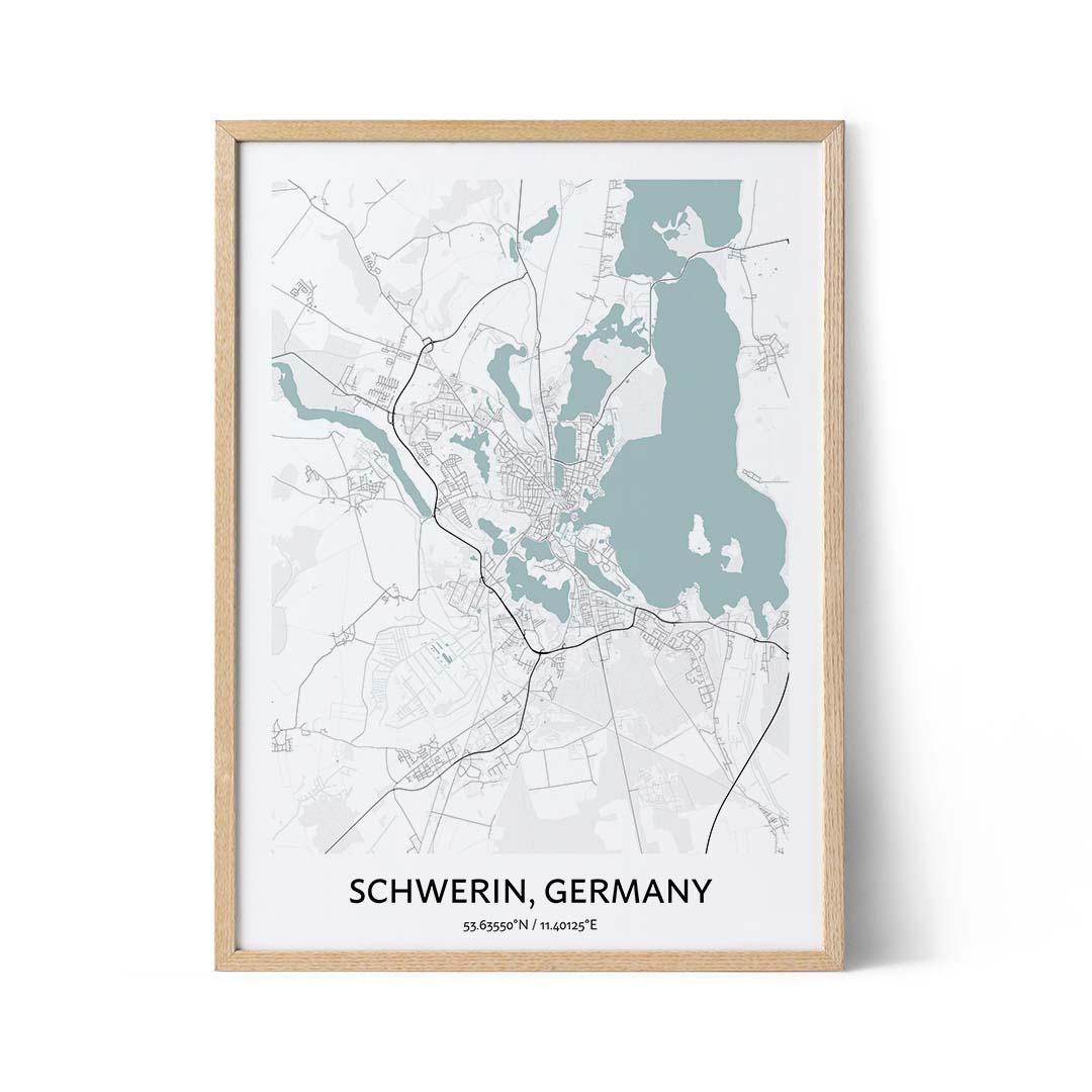 Schwerin city map poster
