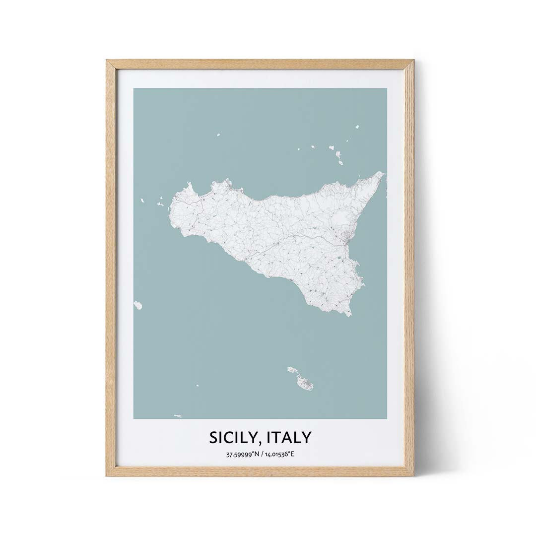 Sicily city map poster
