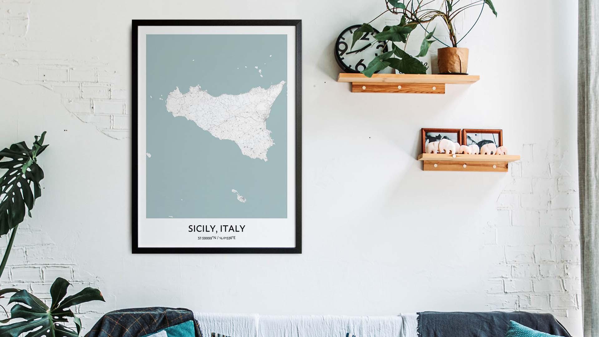 Sicily map art