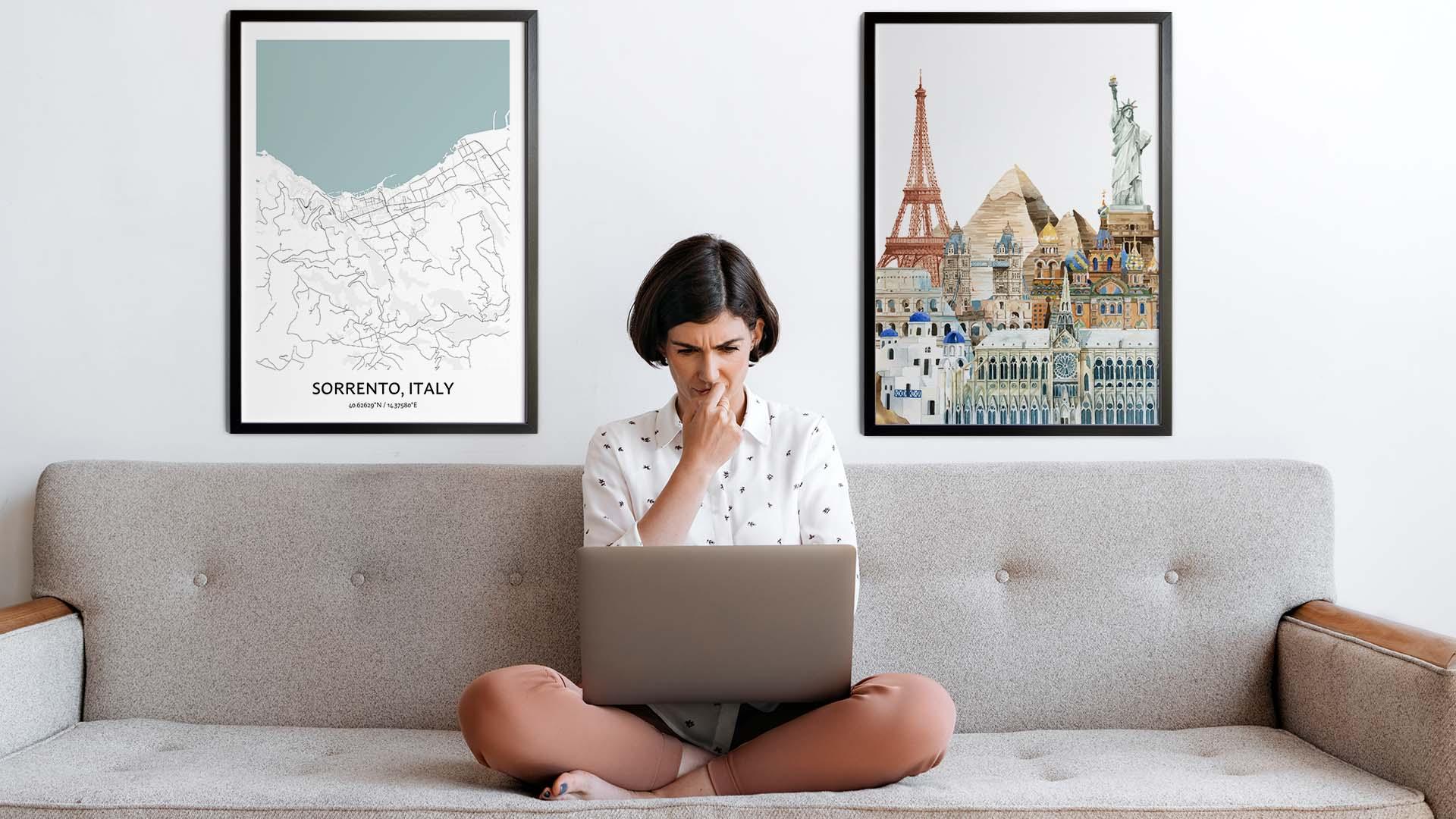 Sorrento city map art