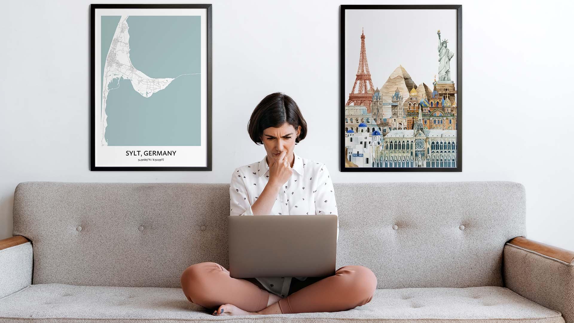 Sylt city map art