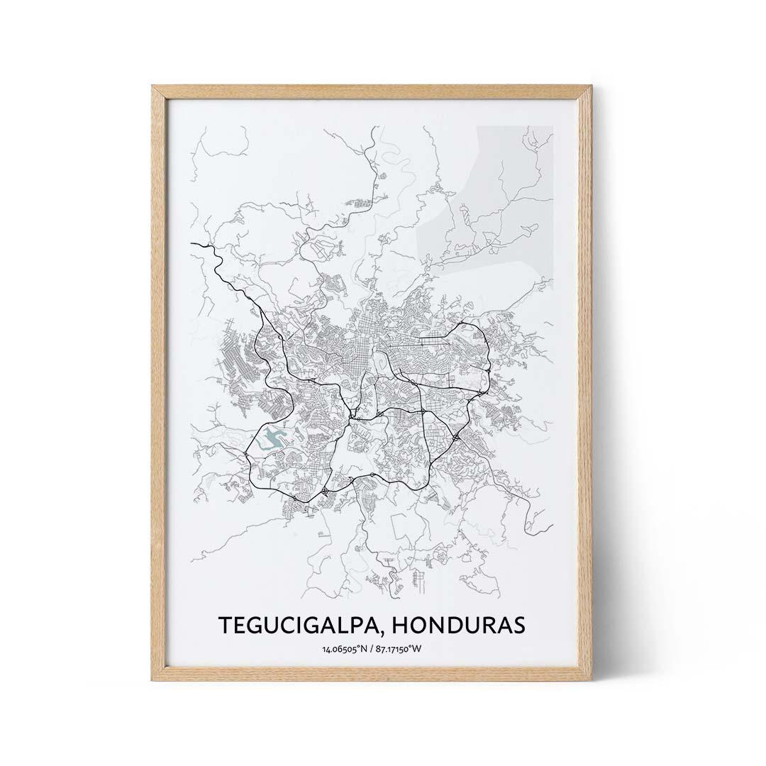 Tegucigalpa city map poster