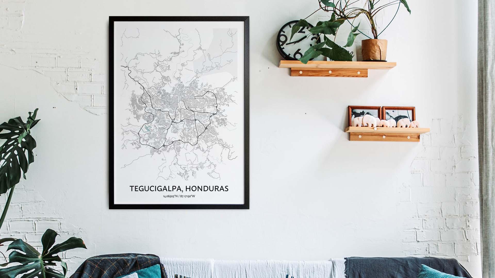 Tegucigalpa map art