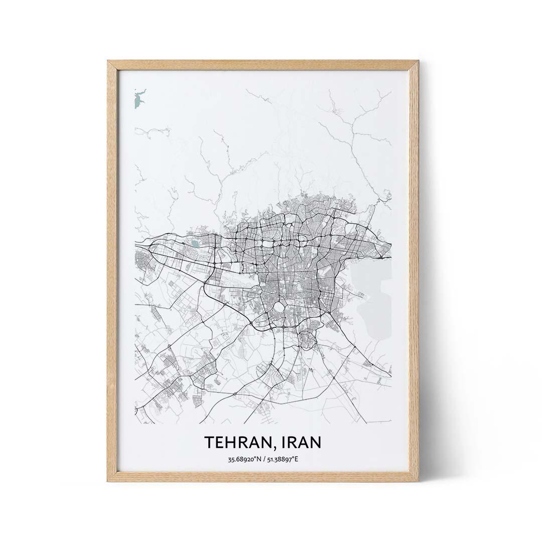Tehran city map poster
