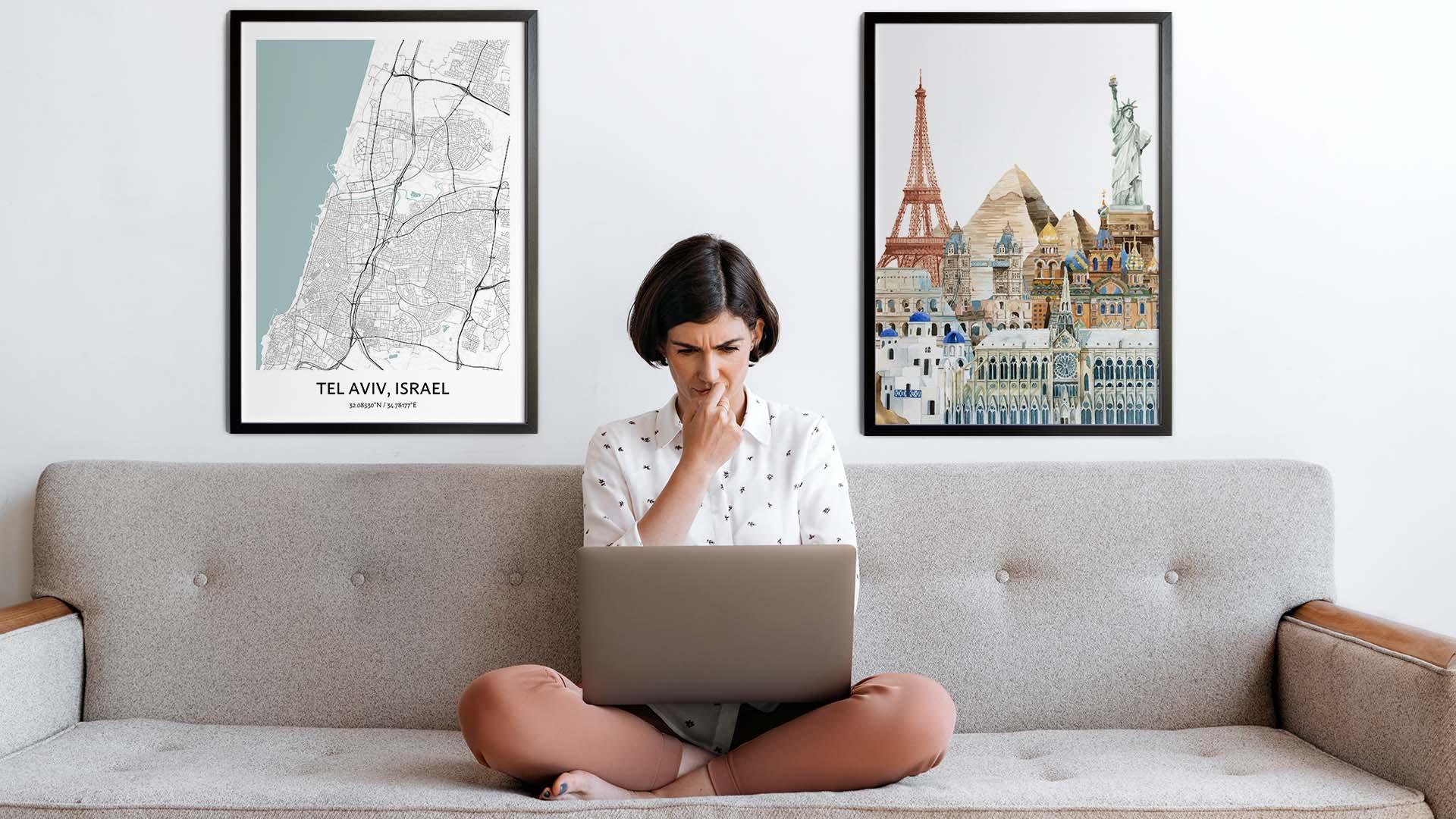 Tel Aviv city map art