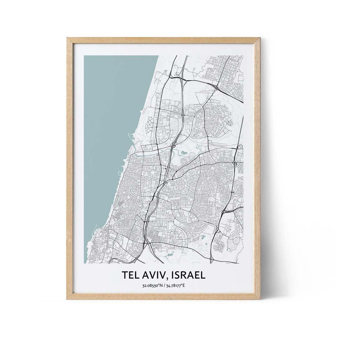 Tel Aviv city map poster