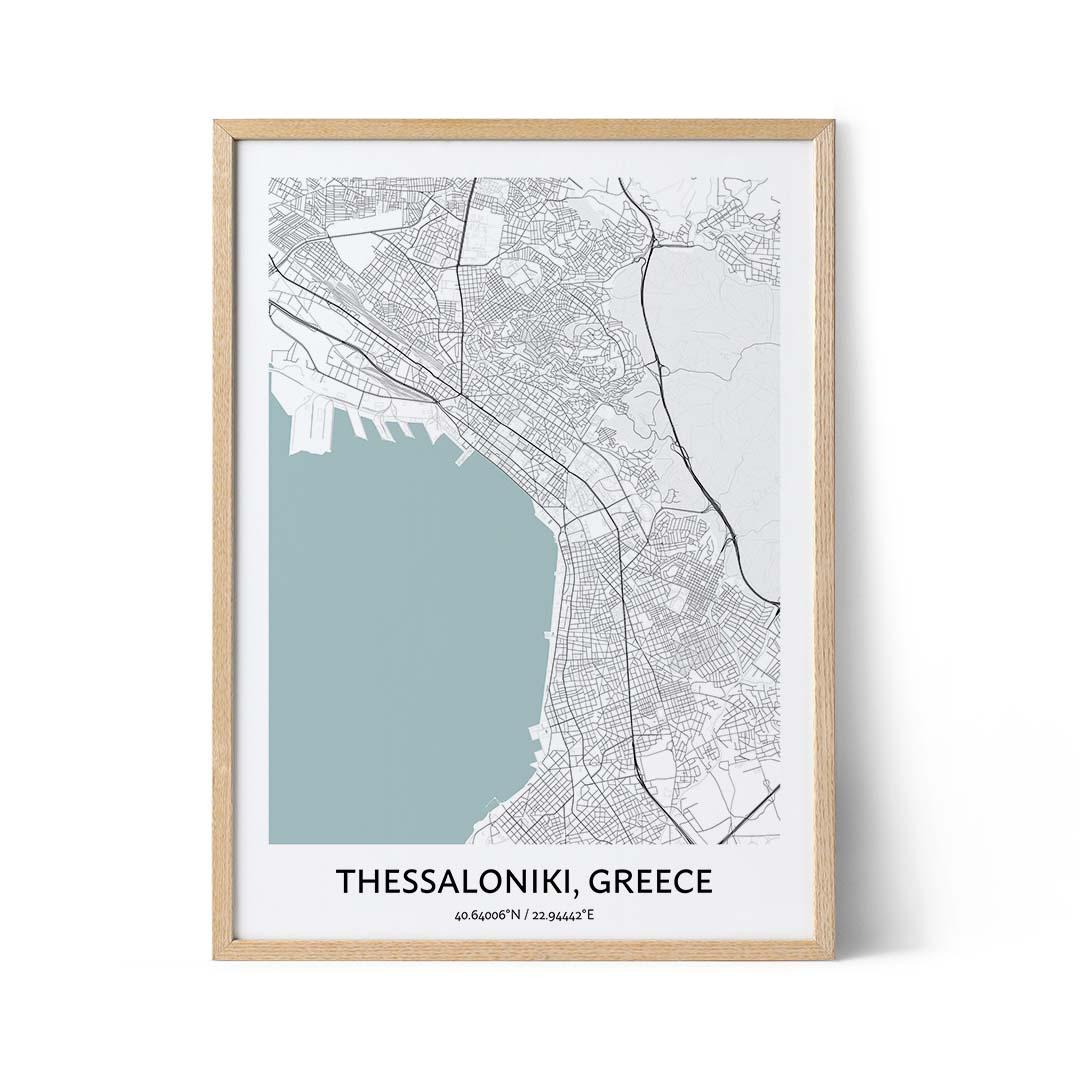 Thessaloniki city map poster
