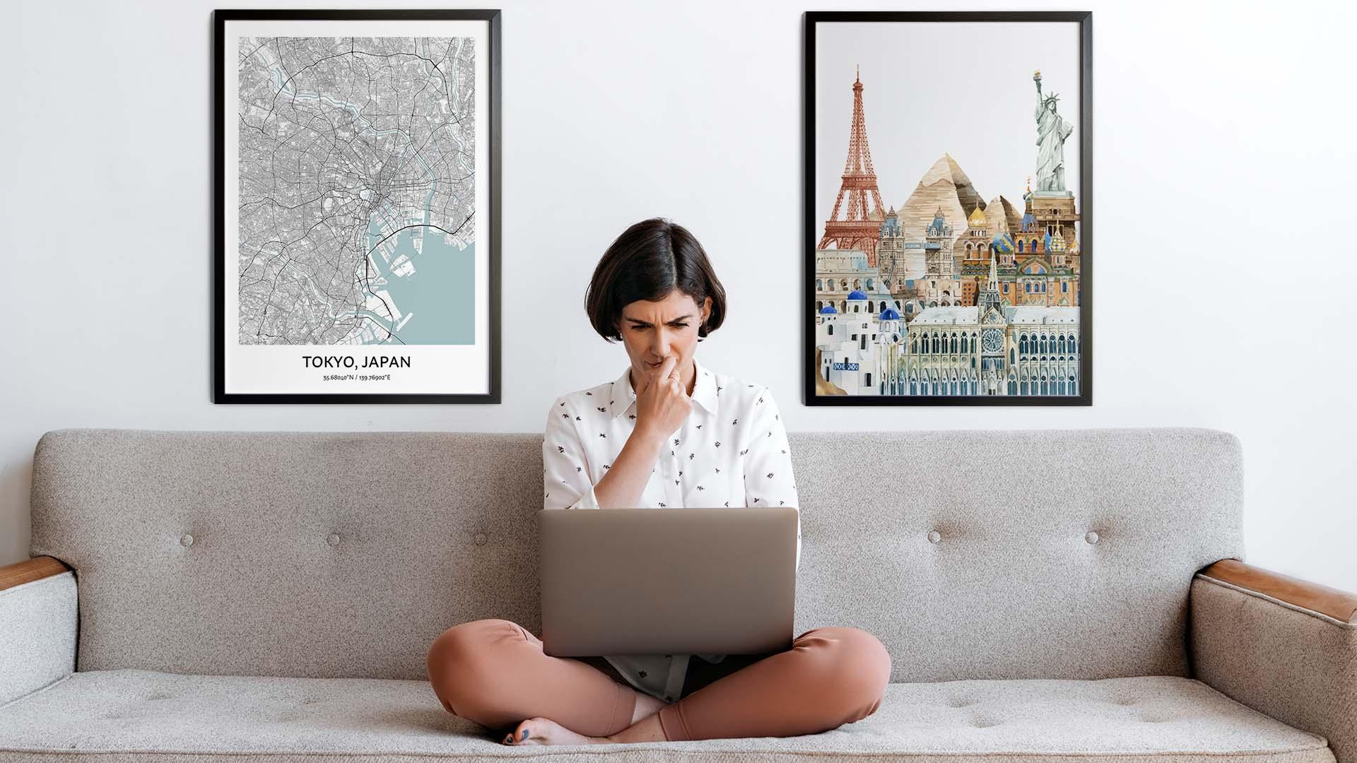 Tokyo city map art