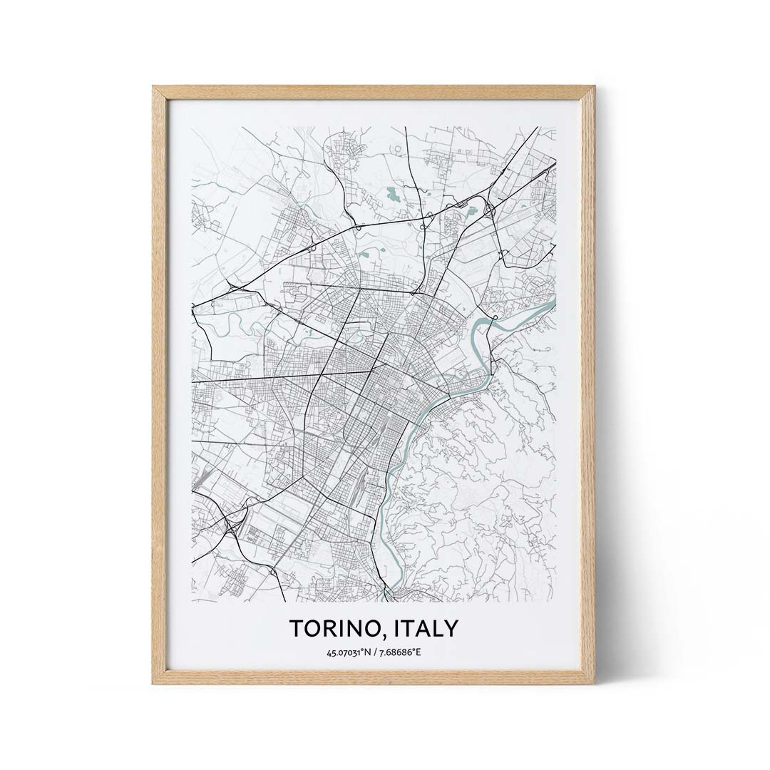Torino city map poster