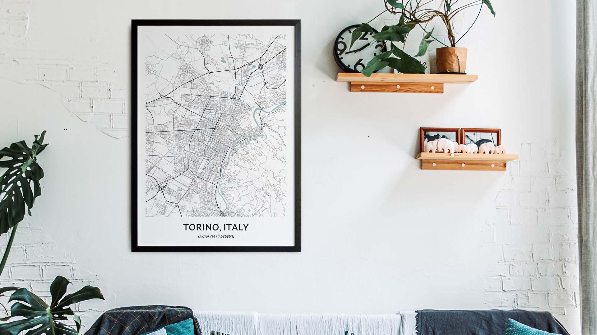 Torino map art