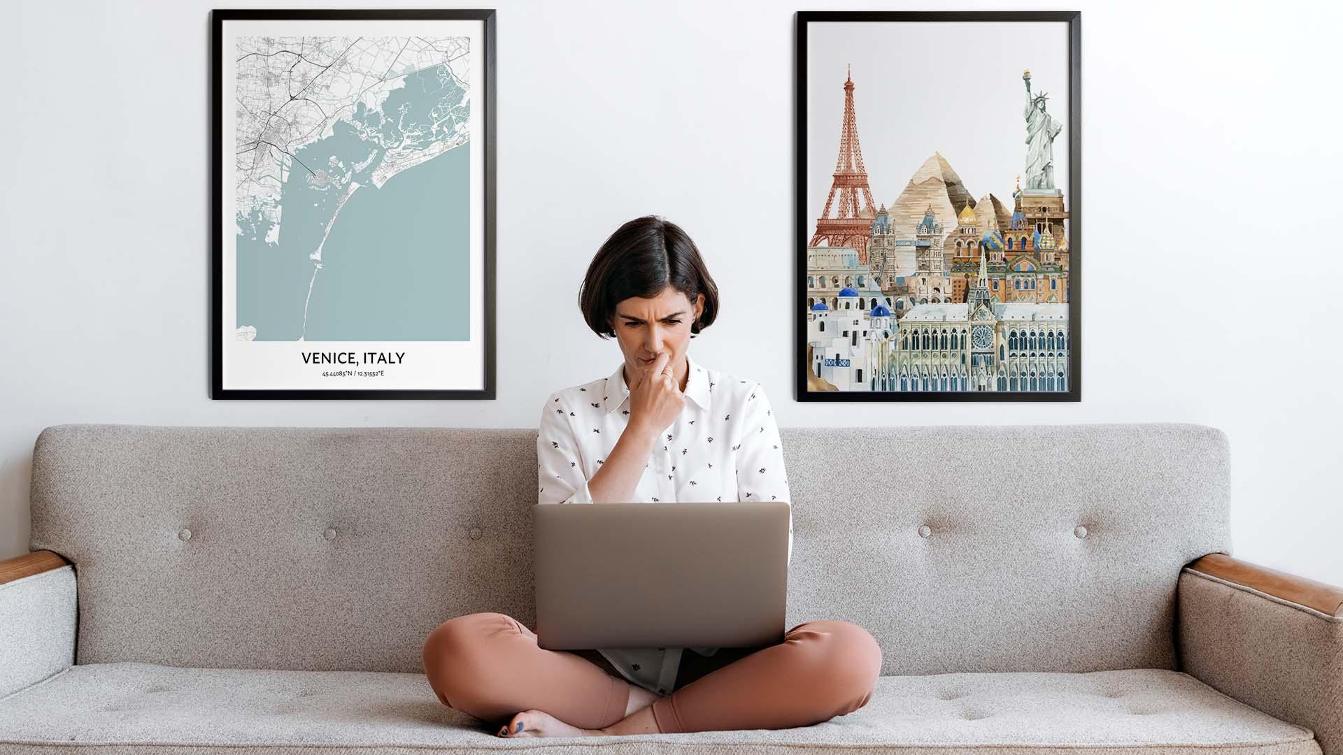 Venice city map art
